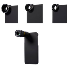 5 In 1 9X Telephoto Wide Angle 10X Macro Fisheye Camera Lens Case Cover for iPhone 6/6Plus
