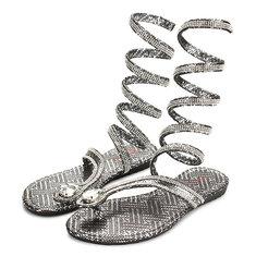 Fashion Women Flat Heel Bling Rhinestone Slingback Gladiator Sandals Shoes New