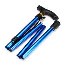 5-Section Adjustable Aluminum Walking Stick Collapsible Trekking Pole Folding Travel Camping Hiking Cane
