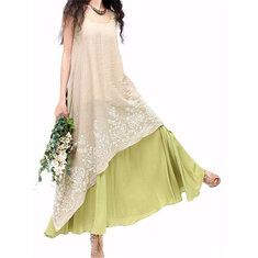 Elegant Embroidery Layered Sleeveless Irregular Dress