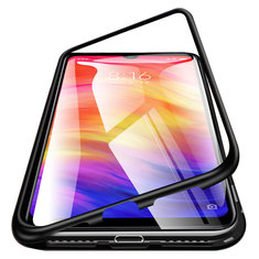 88361dc1c5 Bakeey™ Magnetic Flip Metal Frame Tempered Glass Full Cover Protective Case  for Xiaomi Redmi Note