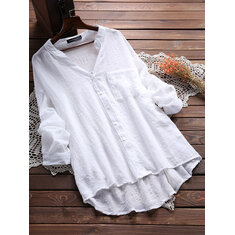 Casual Women See Through Long Sleeve Pocket Blouse