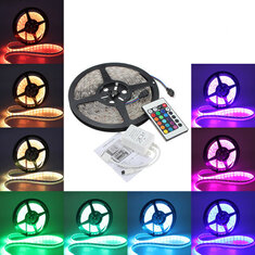 5M 5050 RGB Waterproof 300 LED Strip Light DC12V+24 Key IR Remote Controller for Outdoor Use