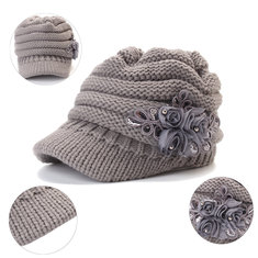 Women Winter Warm Woolen Yarn Flower Hat Outdoor Windproof Good Elastic Hat