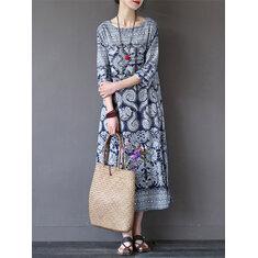 Women Retro Printing 3/4 Sleeve Maxi Dress