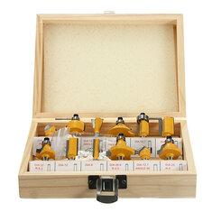 12pcs 1/4 Inch Shank Router Bit Set Tungsten Carbide Woodworking Cutter Rotary Tool