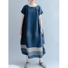 M-5XL Striped Baggy Maxi Dress