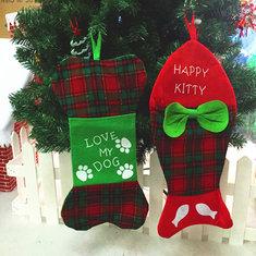 Christmas Stocking Santa Claus Fish Bone Decor Gift Bag Tree Hanging Decoration