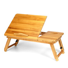 Adjustable Laptop Desk Large Bed Tray Tilting Top Foldable Table Multi-tasking Stand Breakfast Serving Bamboo Table