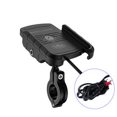 15W Qi Wireless Charger Waterproof 360° Aluminum Phone Holder Handlebar Mount For Motorcycle Bike Bicycle