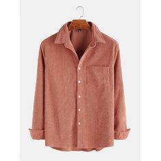 Mens Cotton Washed Long Sleeves And Lapel Corduroy Shirts