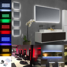 30FT 60CS Waterproof 5630 3LED Module Strip Light+Remote Control+Power Supply for Makeup Window Sign Decor