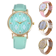 Women Candy Color Special Dial No numbers Leather Analog Wrist Watch
