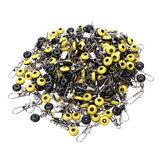 200szt Średni żółty Fasola Space Fishing Pin Obrotowe Pierścień Wędkowanie Akcesoria