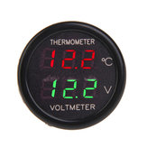 2 In 1 Auto Display Dual LED Digitale Thermometer Voltmeter 12V
