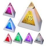 7 kolorów Zmiana Piramidy Kolorowy zegar Cyfrowy LED Budzik Kalendarz Termometr Czas
