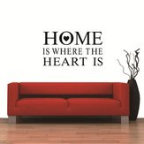 Home Is Where Heart Is Quote Wall Stickers PVC Removable ZY8123