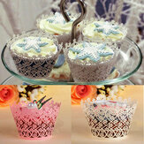 12pcs filigrane flocon de neige cupcake cup cake cup wrappers cup décoration de gâteau