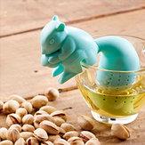 Silício chá esquilo folha solta filtro coador infusor