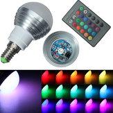 E14 3w ir control remoto 16 cambian de color rgb LED 85-265v bulbo de la bola