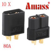 Amass XT60 Bullet Connector Plugs For RC Battery Motor Black 10 Pairs