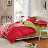 3 Or 4pcs Pure Cotton Brick Red Green Color Assorted Plain Bedding Sets