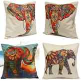 Vintage Elephant Cotton Throw Pillow Case Waist Cushion Cover Home Sofa Car Decor
