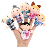 6 pcs dedo bonecos de pano de pelúcia boneca de brinquedo histórias cama auxiliar