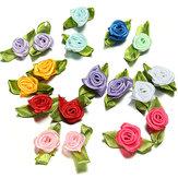 100 रिबन गुलाब DIY सजावट वेडिंग फ्लॉवर क्राफ्ट सिलाई पत्तियां