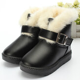 Baby Children Fur Snow Ankle Boots Waterproof Leather Shoes