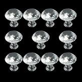 10 PCS Zinc Alloy Crystal Glass Drawer Door Knobs Handle