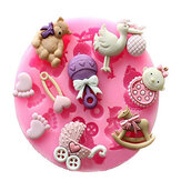 Baby Pram Bear Carrousel Silicone Mould Fondant Cake Decoratie Mould