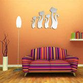3d quatro gatos bonitos DIY parede espelho adesivos sala de home acrílico arte decalque