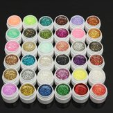 1 Pot 36 Warna Glitter UV Gel Builder Nail Art Polish