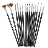 15Pcs Black Nail Art Acrylic UV Gel Design Brush Set