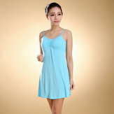 Female Modal Straps Pad Cup Vest Sleepwear Dress
