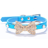 Pet Dog Puppy PU Bowknot Shiny Rhinestone Collar