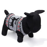 Perro mascota ciervos suéter de punto transpirable ropa outwear