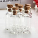 2Pcs Mini Clear Wishing Message Drift Glass Bottles Vials With Cork