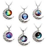 Galaxy Moon Universe Glass Cabochon Crescent Hanger Ketting Ketting