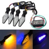 4Unids Motocicleta Ámbar y Azul 12 LEDs Luz de Señales de Giro indicadora con Relé de intermitencia