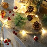 2M Pilz Kiefernnadel Tannenzapfen Kupferdraht Weihnachten LED String Batterie Powered Thanksgiving Hochzeitsfeier Weihnachtsglocken Dekoration