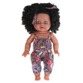 12Inch Soft Silicone Vinyl PVC Black Baby Fashion Play Doll Rotate 360° African Girl Perfect Reborn Doll Toy for Birthday Gift
