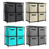 Gabinete de armazenamento dobrável Combinação de várias camadas da unidade de pano Gaveta de rack Armário de roupas Livros Arquivos Organizador de prateleira com 4 caixas de armazenamento