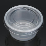 100Pcs 150mL Clear Plastic Disposable Soup Food Sauce Cups Take Out Container with Lid