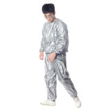 Silver Heavy Duty Sweat Sauna Suit Exercise Gym Fitness Weight Anti-Rips