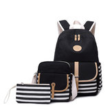 3Pcs/Set Canvas Backpack Rucksack School Bag Waterproof Shoulder Bag Outdoor Travel