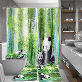 4 Sztuk Panda Bamboo Declub Antypoślizgowy Dywan Pokrywa Pokrywy Wc Mata Do Kąpieli Zasłona prysznicowa do Łazienki