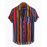 Men Colorful Stripe Short Sleeve Cotton Holiday Casual Shirts