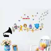 Animals Music DIY Wall Stickers for Kids Baby Room Nursery Home Decor Mural Art Wall Paper